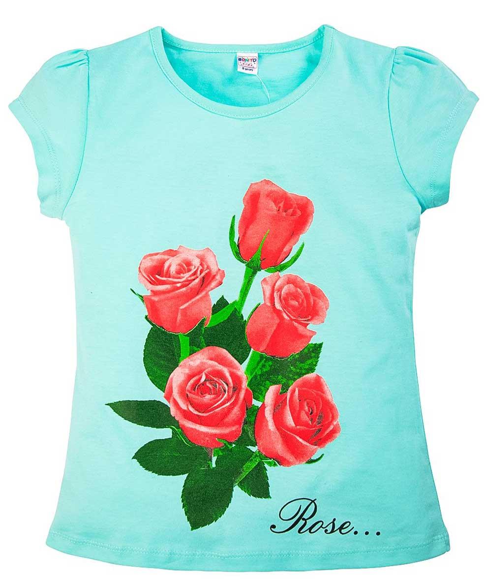 Футболка для девочки с принтом Розы бирюзовая