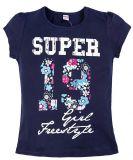 Футболка для девочки с надписью Super Girl темно-синяя