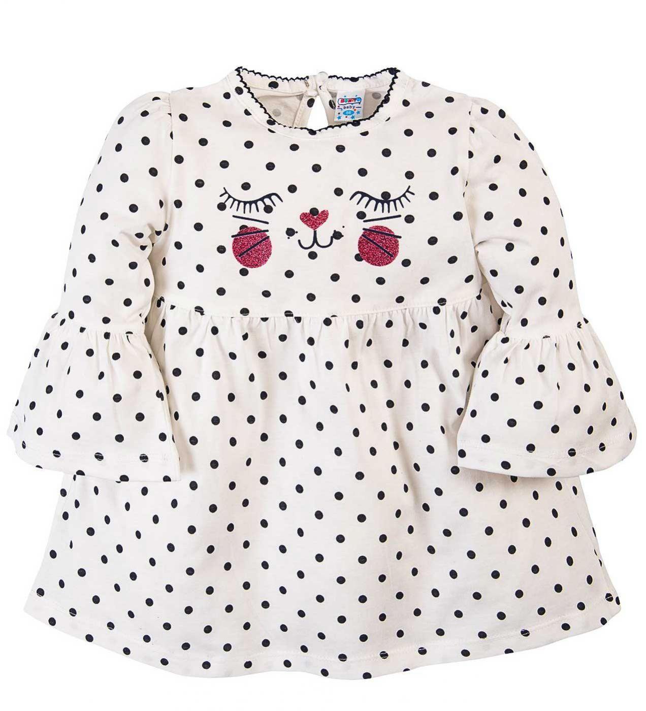 Платье для девочек.Bonito белое в горошек