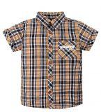 бежевая клетчатая рубашка для мальчика с короткими рукавами