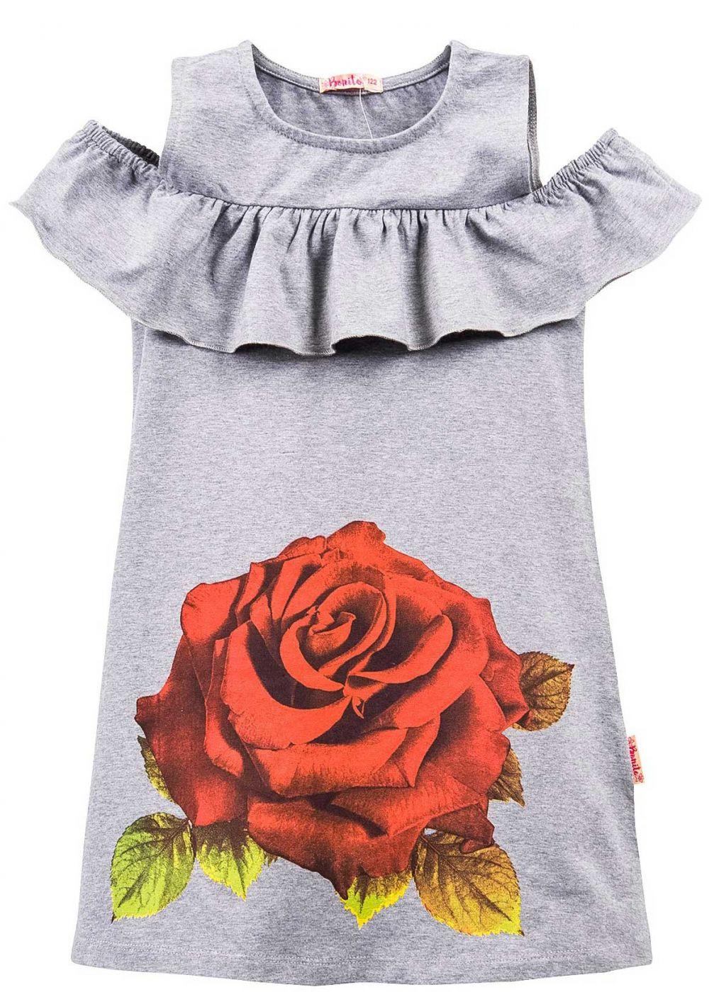 Платье на девочки Bonito серое с розой