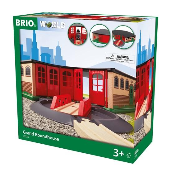 BRIO Большое ж/д депо с 5 въездами, поворотным треком-мостом и главными воротами