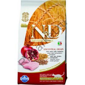 N&D Low Grain Cat Chicken & Pomegranate Neutered-Спельта, овес, курица, гранат. Полнорационное питание для взрослых кошек.