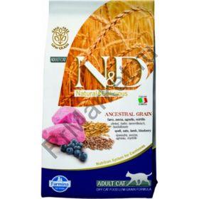 N&D Low Grain Cat Lamb & Blueberry-Спельта, овес, ягненок, черника. Полнорационный корм для взрослых кошек.