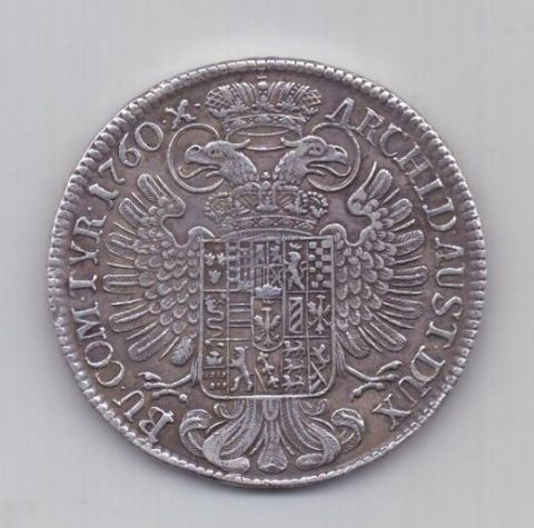 1 талер 1760 года AUNC Австрия