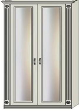 Шкаф двухдверный зеркальный с двумя пилястрами для белья и платья