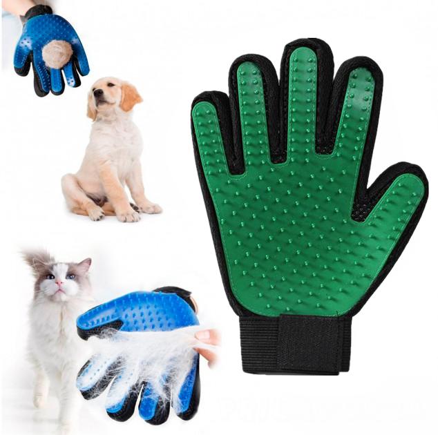 Перчатка для вычёсывания шерсти животных True Touch,зеленый