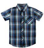 Синяя клетчатая рубашка для мальчика с короткими рукавами