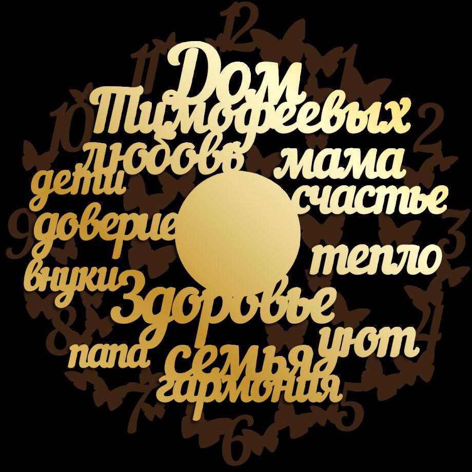 Часы настенные теплые слова с бабочками ажурные