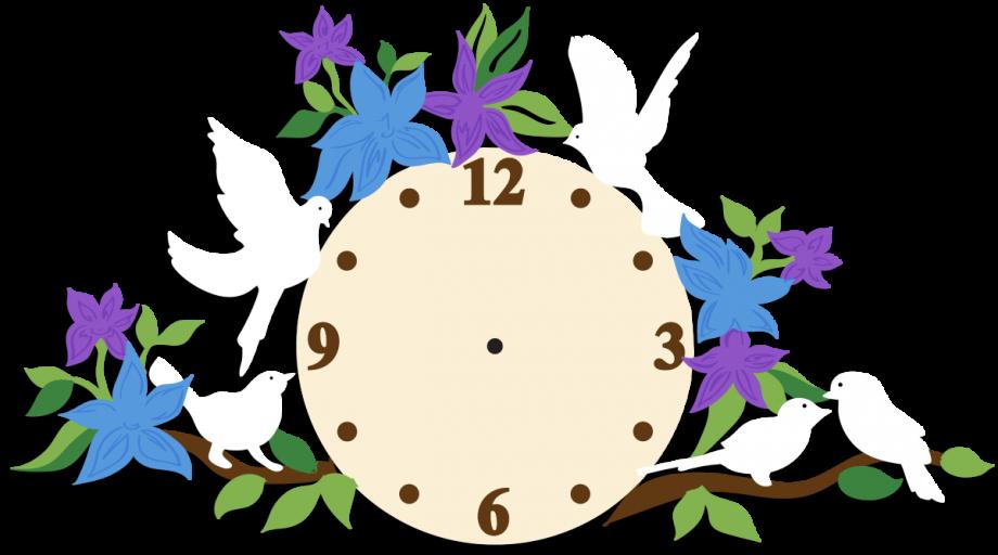 Часы настенные птицы с цветами