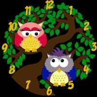 Часы настенные с двумя совами