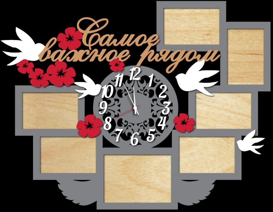 Часы настенные с фоторамками самое важное рядом