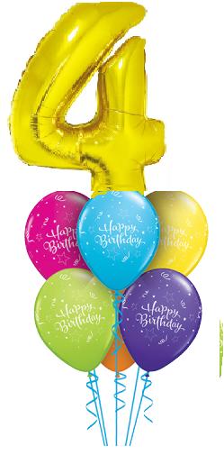 Связка из 6 разноцветных шаров и цифры 4