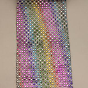 """Лента декоративная """"имитация страз"""", ширина 12 см, длина 10 ярдов, цвет: радуга"""