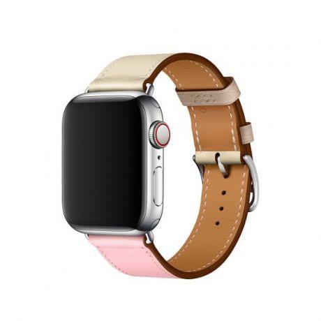 Apple Watch Hermes Stainless Steel Series 4 40mm GPS + Cellular Rose Sakura/Craie/Argile Swift Leather Single Tour