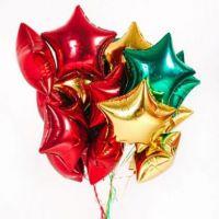 Фольгированные звезды, шары без рисунка 17 штук