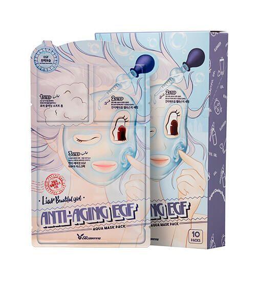 Трехэтапная ОМОЛАЖИВАЮЩАЯ маска для лица трехэтапная  Elizavecca Anti-Aging EGF Aqua Mask Pack 1шт.