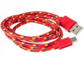 Кабель USB - microUSB 2м красный