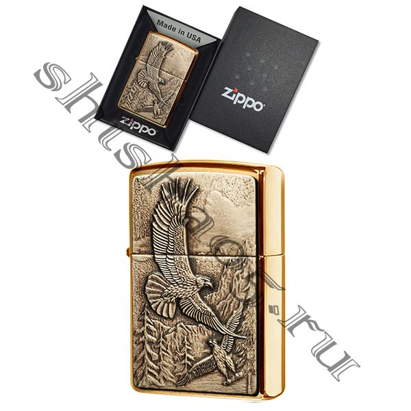 Zippo 20854 - Where Eagles Dare, (brushed brass)