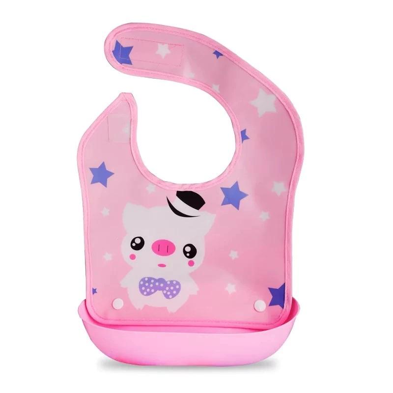 Детский Нагрудник Для Кормления С Отстегивающимся Карманом, Цвет Розовый