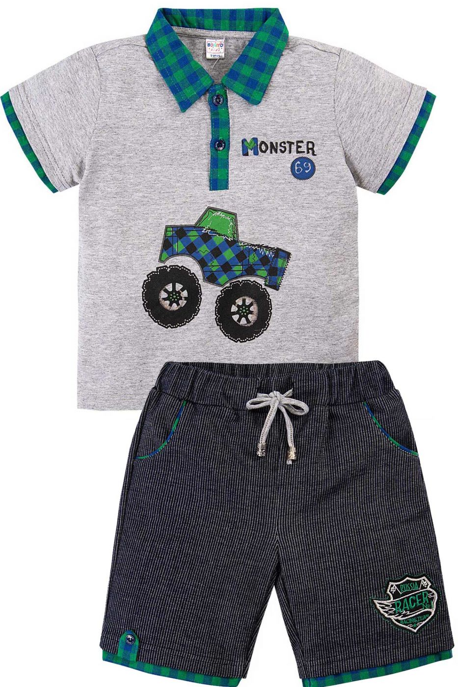 Комплект для мальчика Bonito серый-меланж/зеленый