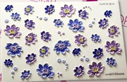 3D Слайдер-дизайн - 122 - Синие и сиреневые цветы