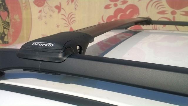 Багажник на рейлинги Chevrolet Captiva, FicoPro R-44, черный, крыловидные аэродуги