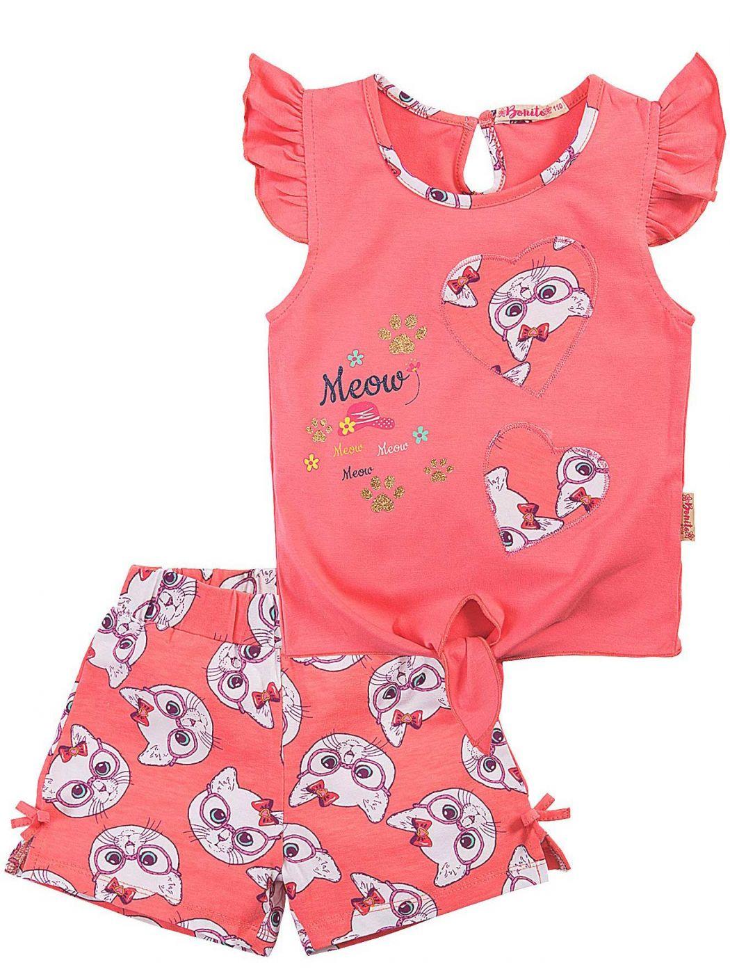 Летний костюм для девочек Bonito коралловый кошки