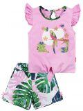 Летний костюм для девочек Bonito розовый попугай