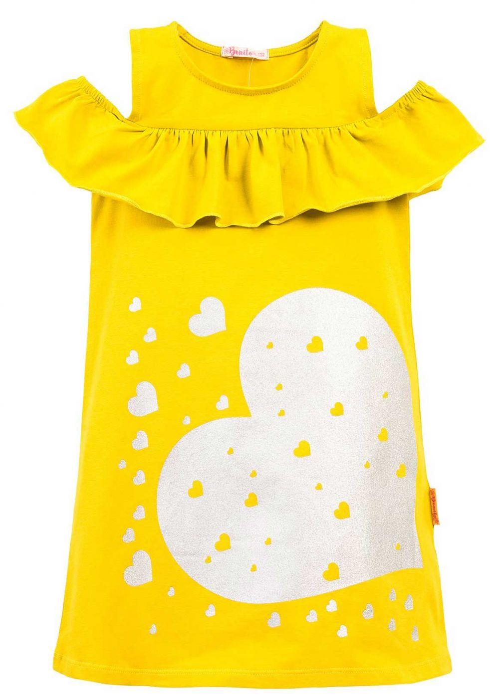 Платье на девочки Bonito желтое с сердечкой