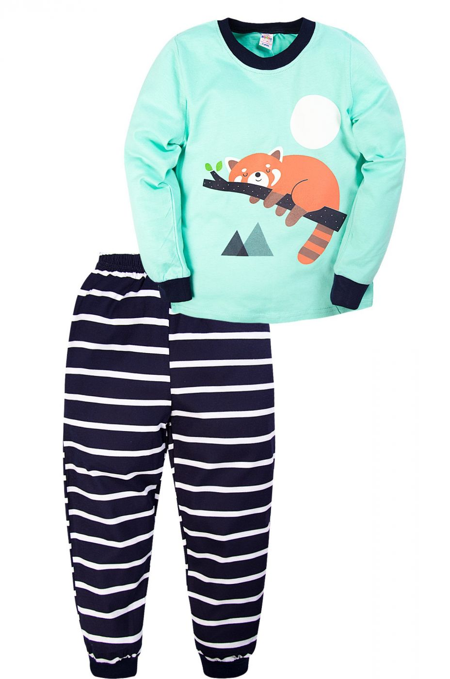 Пижама для мальчика Bonito бирюзовая с енотом