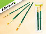 Набор кистей нейлоновых плоских/круглых 3 шт. №2,4,6, с деревянной рукотякой зеленого цвета (арт. S 1719)