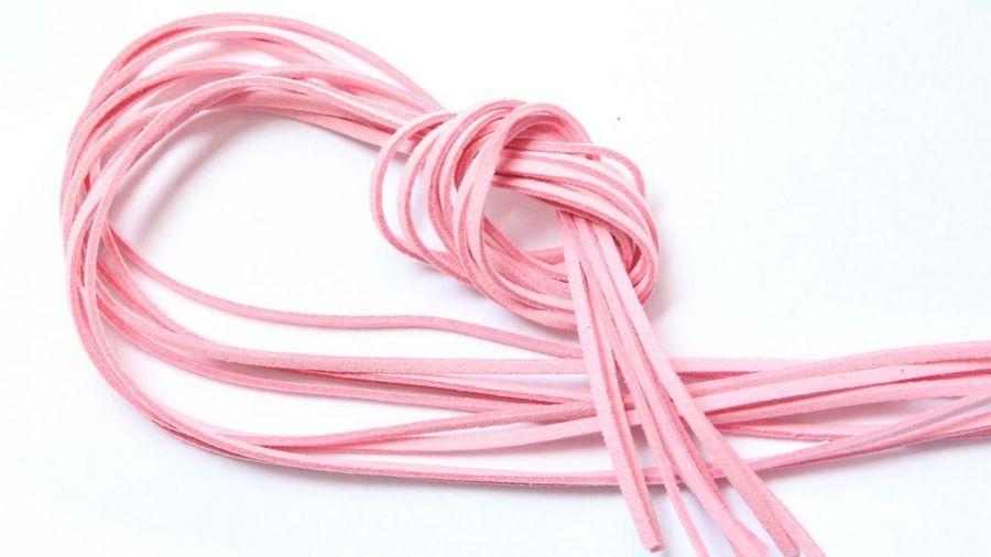 Шнур замшевый, 3*2 мм, Цвет №24, Розовый, 1 м/упак