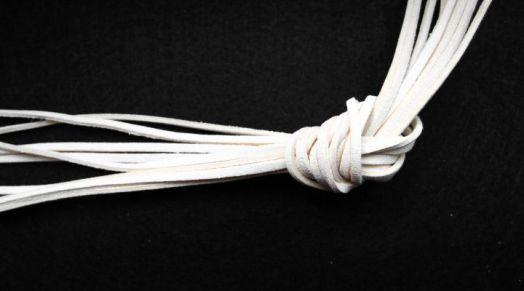Шнур замшевый, 3*2 мм, Цвет №1, Белый, 1 м/упак