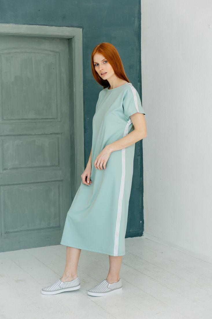 m2165 Платье трикотажное с лампасами фисташковое