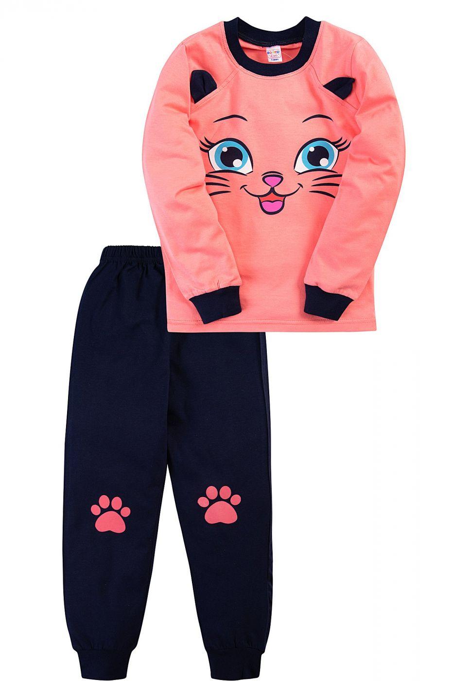 Пижама для девочки Bonito коралловая с мордочкой кошки