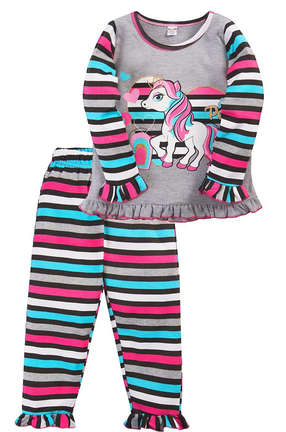 Пижама для девочки Bonito серая в полоску с Pony