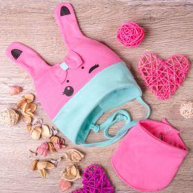 РБ Шапка с ушками и с бантиком+снуд, из двойного трикотажа, Зайка, розовая с бирюзой
