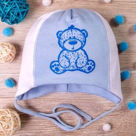РБ Шапка трикотажная, на завязках, мишка, голубая с белым
