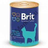 Brit Premium Консервы для кошек 340гр мясное ассорти с птицей для кастратов