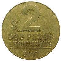 Уругвай 2 песо 2007 г.