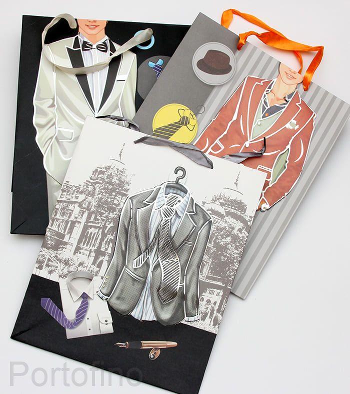 Подарочный пакет мужской и открытка