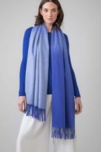 Роскошная классическая шотландская  шаль, высокая плотность, 100 % драгоценный кашемир , расцветка Голубой Омбрэ, OMBRE BLUE CASHMERE (премиум).