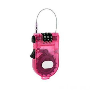 Замок с тросиком - трехзначный цифровой код, Цвет: Розовый