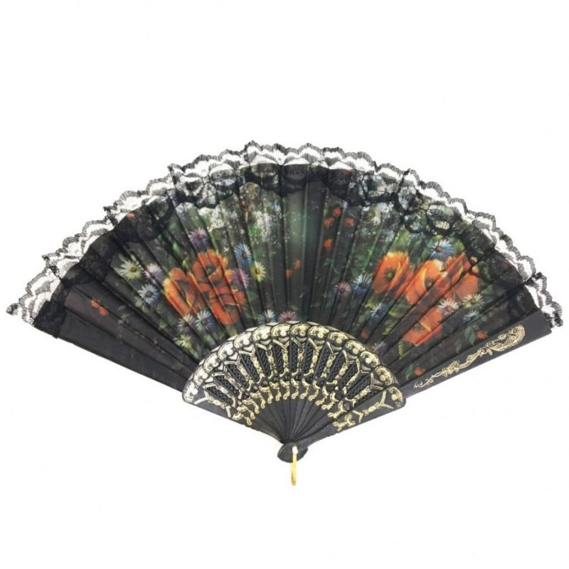 Складной Веер С Цветочным Рисунком И Пластиковым Основанием, 25 См, Оттенок Черный