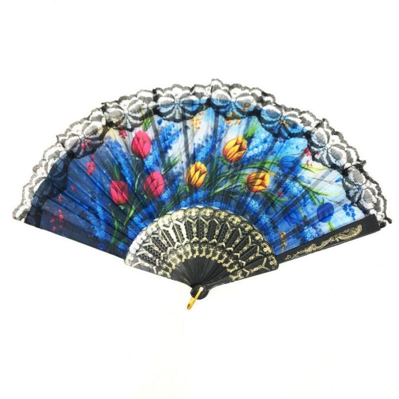 Складной Веер С Цветочным Рисунком И Пластиковым Основанием, 25 См, Оттенок Синий