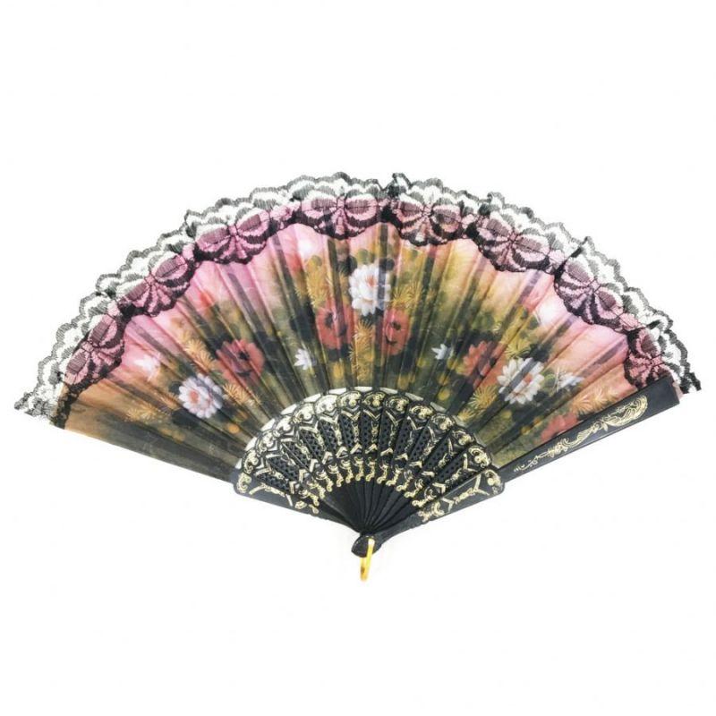 Складной Веер С Цветочным Рисунком И Пластиковым Основанием, 25 См, Оттенок Розовый