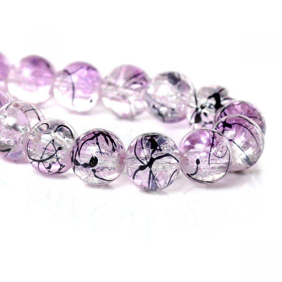 """Бусина стеклянная, """"битое стекло"""", цвет прозрачный с фиолетовым, 10 мм, 10 шт/упак"""