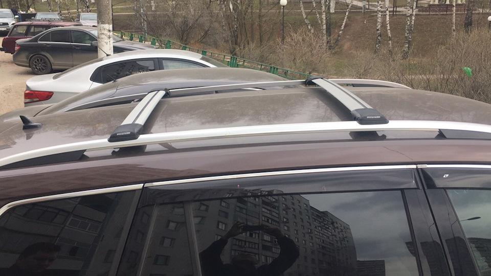 Багажник на рейлинги Skoda Kodiaq, FicoPro R54, серебристый, крыловидные аэродуги
