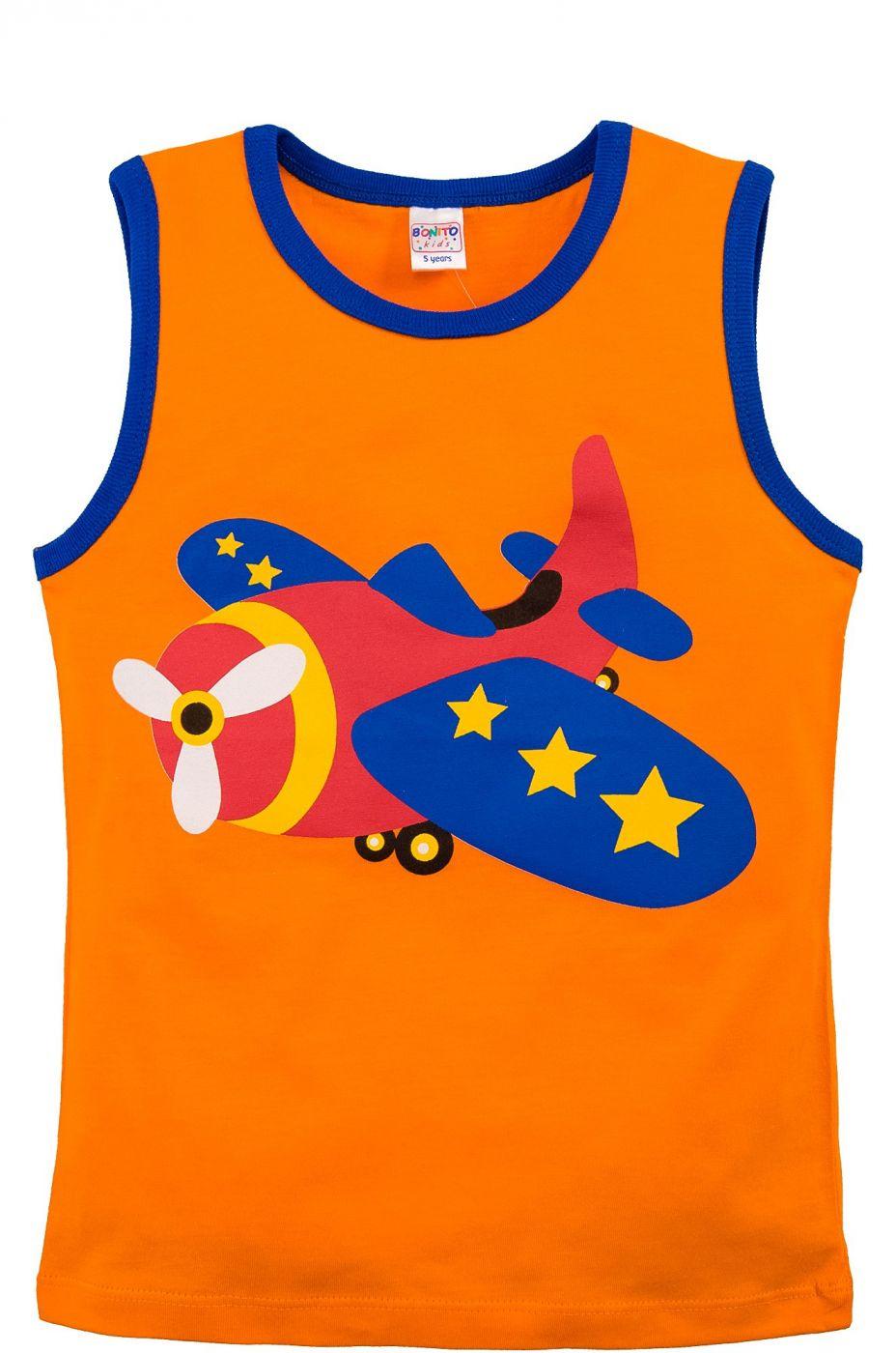 Майка для мальчиков Bonito оранжевая с самолетом